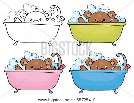 Vector bathing baby bear.