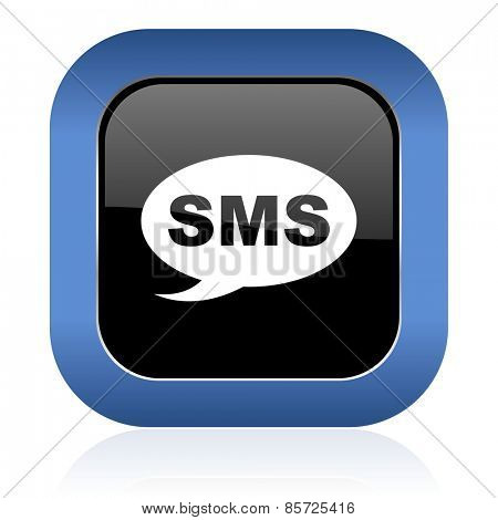 sms square glossy icon message sign