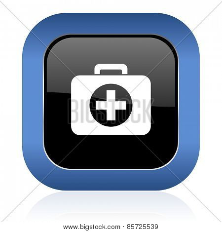first aid square glossy icon hospital square glossy icon