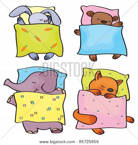 Vector sleeping animals.