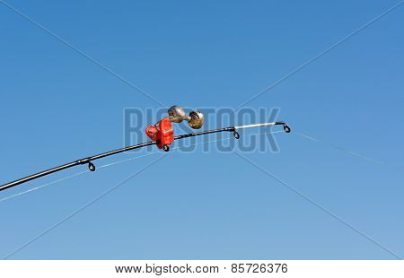 Tip Of Fishing Rod With A Bell.