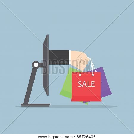 Hand With Shopping Bag Sticking Out From Monitor, E-commerce, Online Shopping Concept