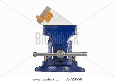 Cigarettes Held In Blue Vise Grip - End View