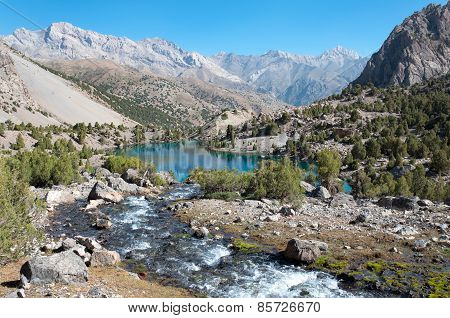 Majestic mountain lake in Tajikistan