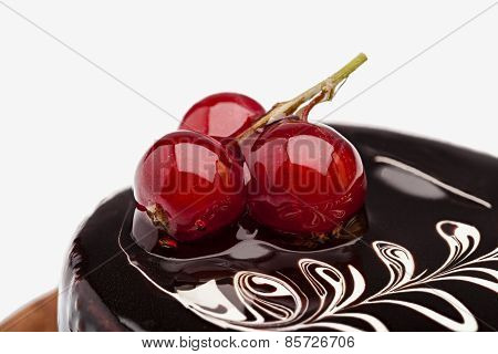 Chocolate Dessert With Three Cherries Close-up With A Pattern