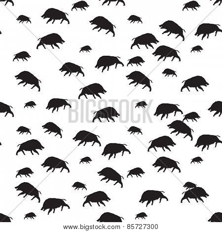 wild boar or warthog pattern in black and white color