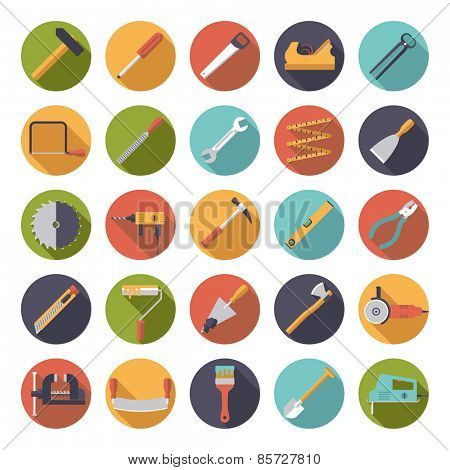 Crafting Tools Flat Design Vector Icons Collection. Set of 25 tools and crafting icons in circles, flat design.