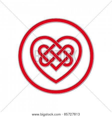 Celtic Knot Symbol of Eternal Love. Vector illustration of red heart shaped celtic knot with drop shadow.