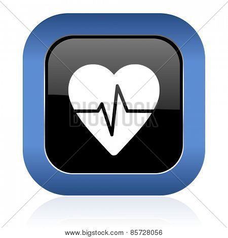 pulse square glossy icon heart rate sign
