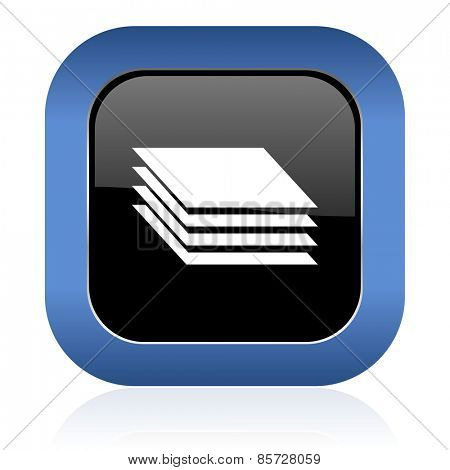 layers square glossy icon gages sign