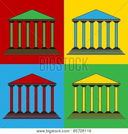 Pop Art Bank Symbol Icons.