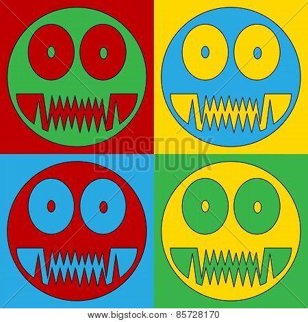 Pop Art Monster Symbol Icons.
