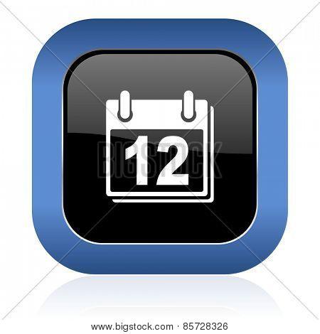 calendar square glossy icon organizer sign agenda symbol