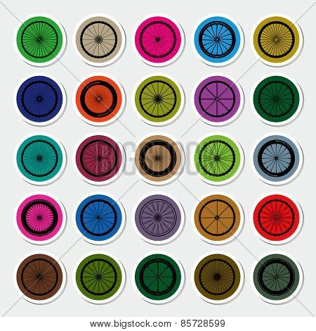 Bicycle Wheels Sticker Vector Illustration