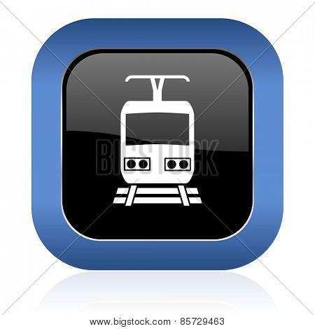 train square glossy icon public transport sign