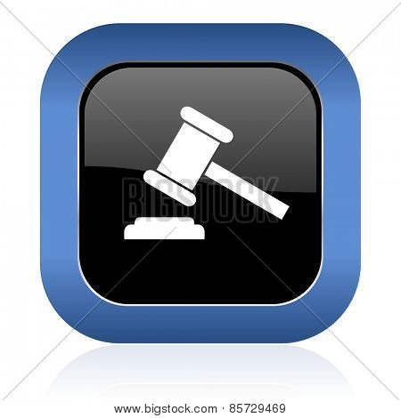 auction square glossy icon court sign verdict symbol