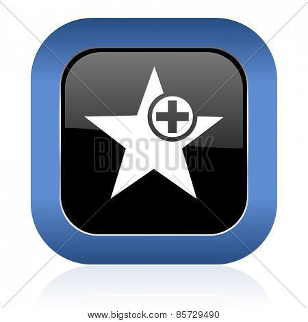 star square glossy icon add favourite sign