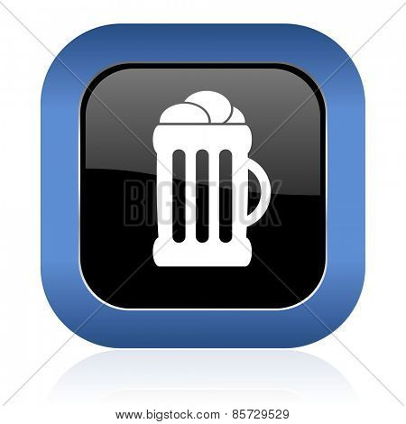 beer square glossy icon mug sign