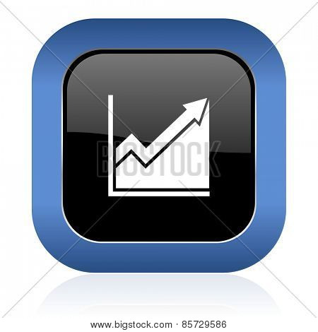 histogram square glossy icon stock sign