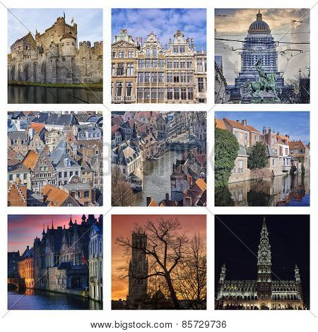 Set of Belgium landmarks