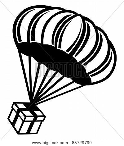 Gift box parachute falling from the sky
