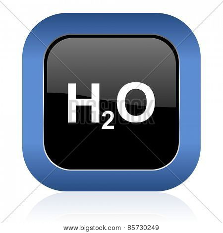 water square glossy icon h2o sign