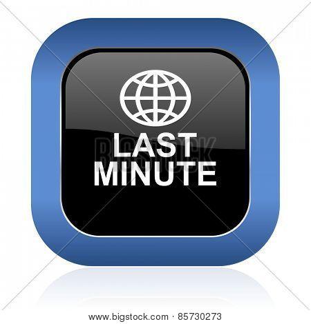 last minute square glossy icon