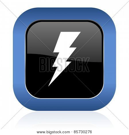 bolt square glossy icon flash sign