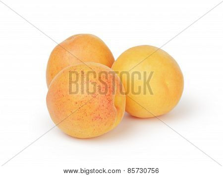 three ripe apricot fruits isolated