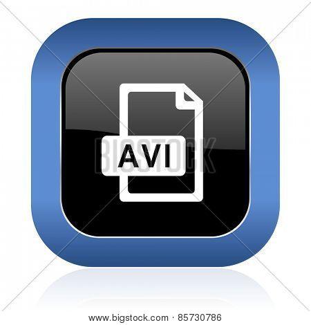 avi file square glossy icon