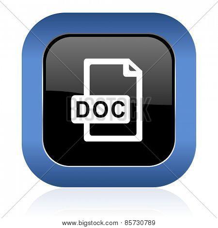 doc file square glossy icon