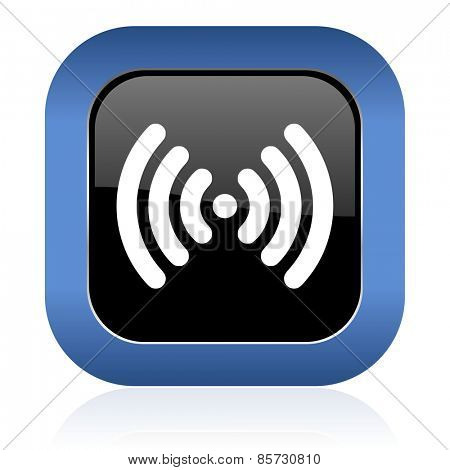wifi square glossy icon wireless network sign