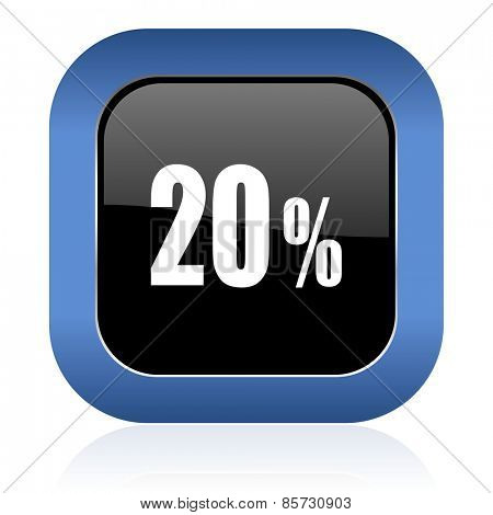 20 percent square glossy icon sale sign