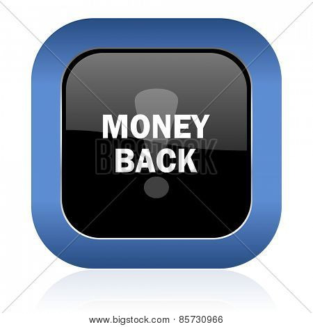 money back square glossy icon