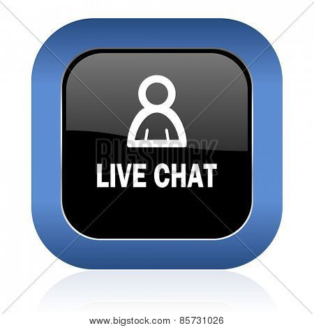 live chat square glossy icon