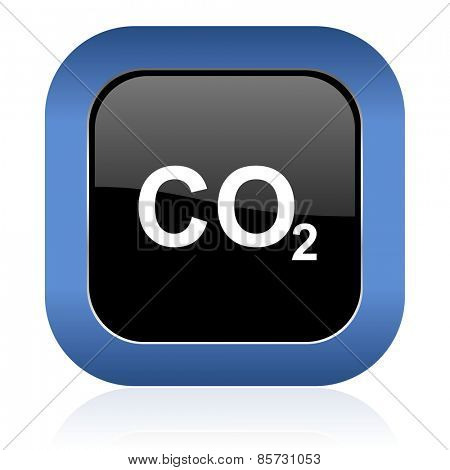 carbon dioxide square glossy icon co2 sign