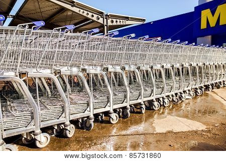 Large Empty Blue Shopping Cart Metro Store