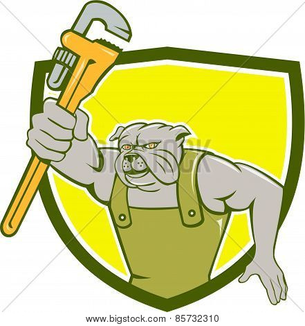 Bulldog Plumber Monkey Wrench Shield Cartoon