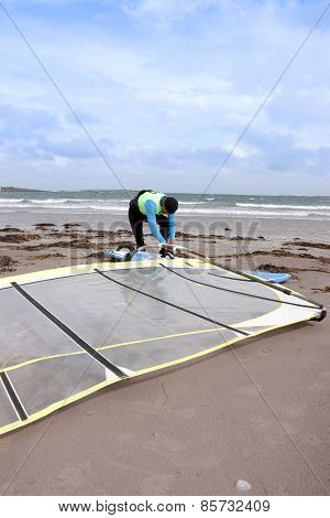 Wild Atlantic Windsurfer Getting Ready