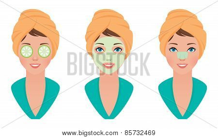 Set Girl With Clay Mask On Her Face With A Mask Of Cucumber And Cleans Pores Strip