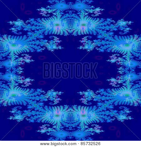Decorative blue fractal pattern with fantasy flower wreath shape