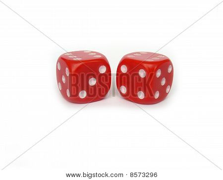 two red game dice isolated on white
