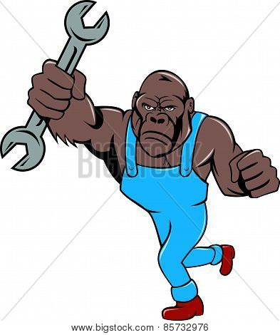 Angry Gorilla Mechanic Spanner Cartoon Isolated
