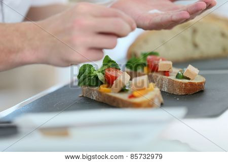 Closeup of delicatessen dish being prepared