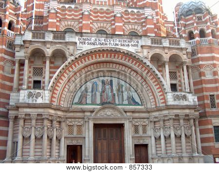 Frontage of Westminster Cathedral, London, England