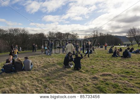 Crowd Gathered On Calton Hill, Edinburgh To Witness The Sun Eclipse