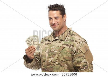 Smiling Soldier Holding Money