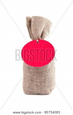 Canvas sack with blank label
