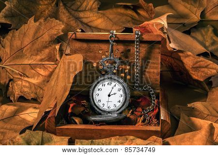 Antique Clock With Autumn Leaves