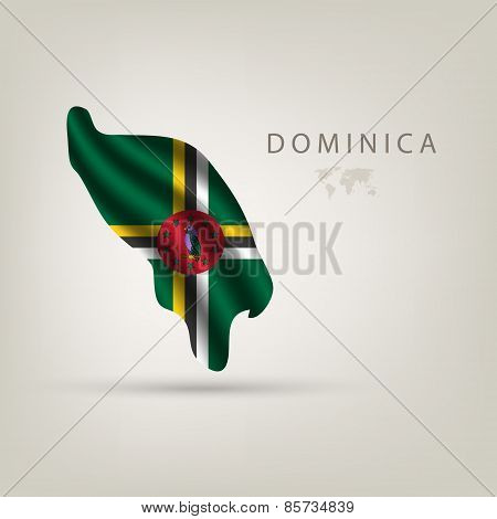 Flag Of Dominica As A Country With A Shadow